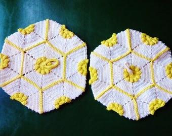 Hot Pads, Crochet Hot Pads, Vintage Home Decor
