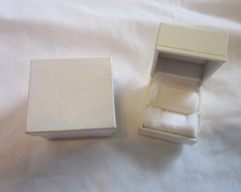 Vintage Jewelry Ring Box in its Original Box White with Gold Engraving