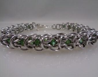 Crystal Elf Weave Chainmaille Bracelet, Chainmail Bracelet, Chain Mail Bracelet, Chain Maille Bracelet