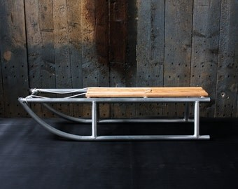 Aluminium Snow Sledge, The SNOW GLIDER A Traditional Style Sled Made With Modern Materials. Ash Slats, Aluminium Frame, Handmade In UK