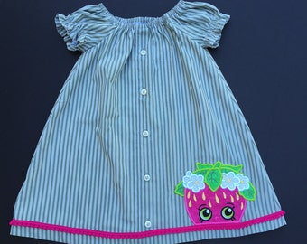 Peasant dress Shopkins Inspired Repurposed child's dress Strawberry Girl Upcycled clothing Ready to Ship