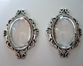 2 - Oval Cabochon Base Settings w/Glass Cabochon