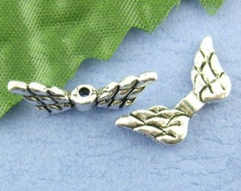 12 - Silver Plated Angel Wing Charms