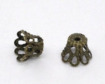 50 - Bronze Filigree Bead Caps