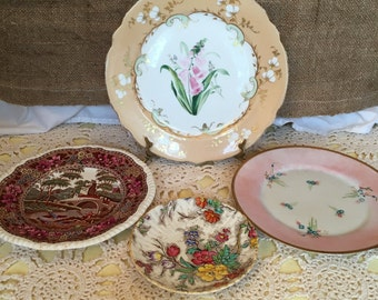 Decorative Grouping of Four 4 Mis-Matched Vintage Plates- Pinks Champagne Browns - Mix and Match Collection