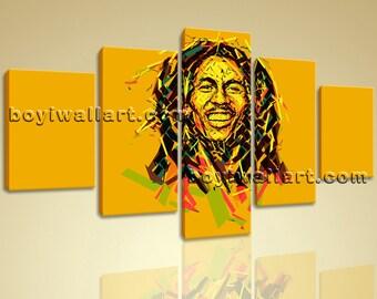 "Bob Marley Painting Giclee Print Music Hip Hop Rap Home Decor Wall Art On Canvas, Bob Marley Painting, Large Prints, 54""X32"""