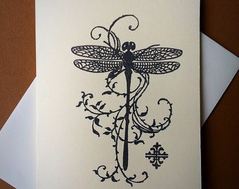 7 dragonfly blank note cards and envelopes .