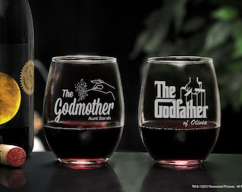 Stemless Wine Glasses with The Godfather Movie Logo, Personalized Will You Be My Godparents Gift, Godfather and Godmother Barware Gift Set