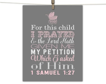 For this child I have prayed sign - baby girl - scripture nursery art - pink and gray - baby carriage - available in canvas