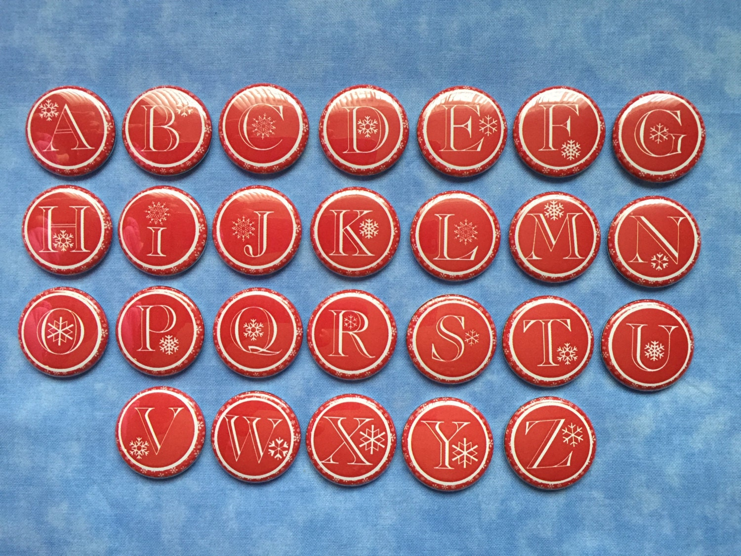 christmas alphabet buttons red and white snowflake alphabet With alphabet letter buttons