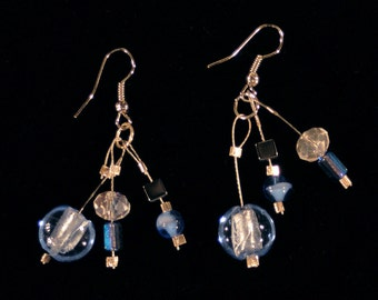 Blue Earrings, Blue Jewery, Crystal jewelry, and Gunmetal earrings, Dangle Earrings, Drop earrings, boho jewelry, boho earrings, blue jeans