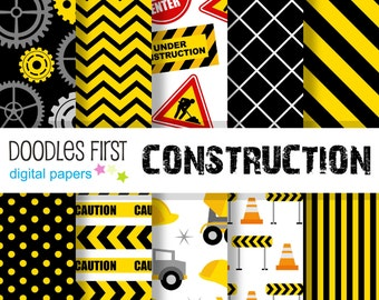 Construction Digital Paper Pack Includes 10 for Scrapbooking Paper Crafts