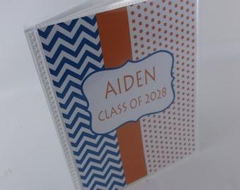 graduation photo album, highschool, kindergarten class pictures graduate gift 4x6 or 5x7 orange blue chevron dot 112