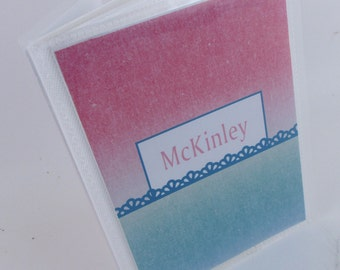 Personalized photo album- child teen baby girl- pink and teal custom 4x6 or 5x7 picture  536