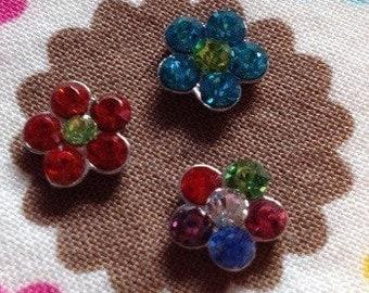 Rhinestone flower floating locket charm