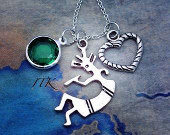 Kokopelli charm dangle necklace