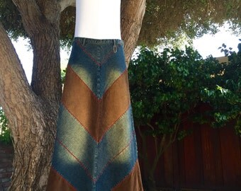 Hippie Bohemian Acid Wash Denim Corduroy Chevron Maxi Skirt