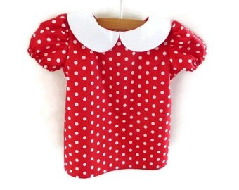 Little girls blouse - little girls top - red and white spotted blouse - girls top - girls blouse - baby top - baby blouse - toddler girl top