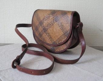 Vintage Genuine Leather & Rotan Bag, Shoulder Bag, Cross Over Bag, Saddle Bag, Brown Leather Handbag @118