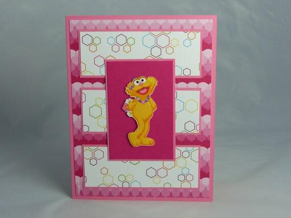 Sale handmade greeting card sesame street zoe birthday like this item m4hsunfo