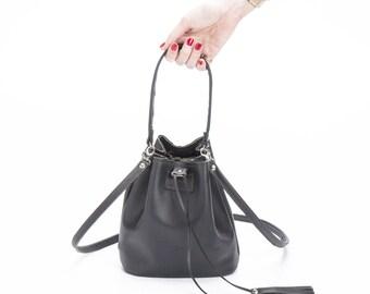 Leather Bucket bag, Drawstring bag, Black leather bag, Mini Leather bag, Gift for her, Sale!