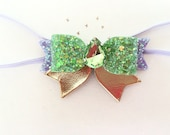 Baby Girls Halloween Tinkerbell Hair Bow Clip, Tinkerbell Headband, Halloween glitter hairband, Birthday Bows, Glitter Bows,  Leather bows