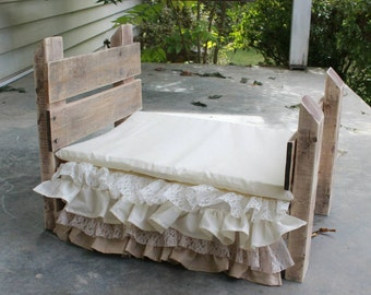 Set- Reclaimed Wood Prop Bed, Ivory/Khaki Lace Bedskirt, Mattress
