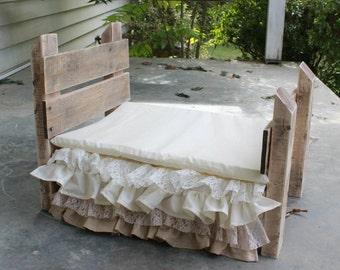 Set- Reclaimed Wood Prop Bed, Ivory/Khaki Lace Bedskirt, Mattress