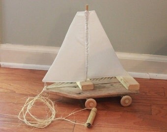 Reclaimed Wood Sailboat Pull Toy- White Sail