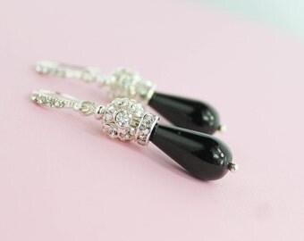 Bridesmaid Jewelry Set - Black Bridesmaid Jewelry - Black Pearl Necklace - Black Pearl Earrings - Black Wedding Jewelry - Black Drop Earring