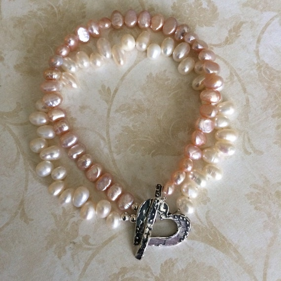 Pink and White Double Strand Pearl and Silver Bracelet, Valentine's Day Gift for Her