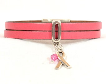 Breast Cancer Awareness Bracelet -Pink Double Strand 5mm Flat Leather Bracelet with Magnetic Clasp (5A-367)