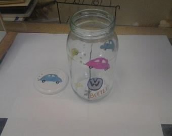 VOLKSWAGEN BUG herbie the love bug handpainted jar
