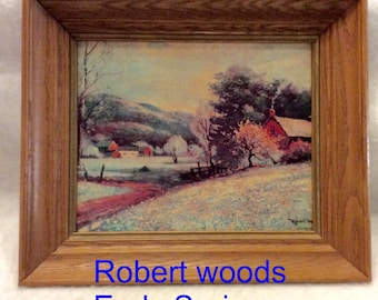 Robert Woods Early Spring lithograph mid century vintage.