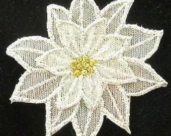 White Christmas Poinsettia Flower, Embroidered Iron-on - 9308