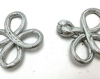 "Frog Closure, Metallic Silver Rope, 1.75"" x 1.5""  -0860"