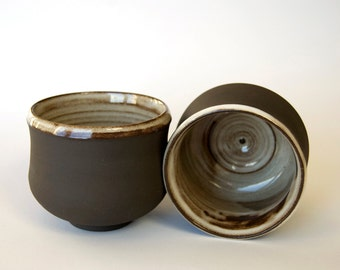Black Stoneware Teabowl/Chawan with White Glaze Rustic Tea cup Pottery wheel Coffee mug set