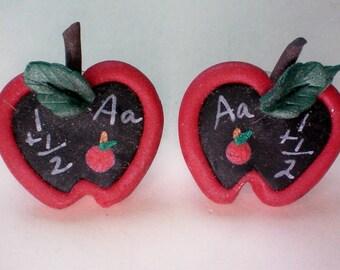 Wooden Apple Earrings for the Teacher