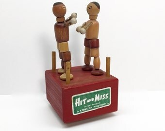 Kohner Push Button Puppet - 1940s, 50s 'Hit & Miss' Boxers Toy