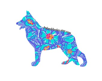 Lilly Pulitzer Inspired German Shepherd Vinyl Decal
