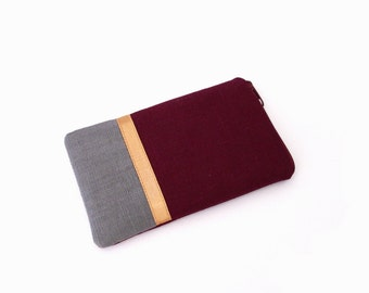 Zippered smartphone pouch, linen, gray, vine red, gold, custom made, smartphone iPhone, skin for iPhone, Galaxy S7, iPhone7, Galaxy phone