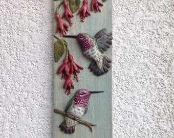 Hummingbirds and fuchsia flowers decorative sign