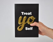 Treat Yo Self Card! Parks and Recreation, Tom Haverford Aziz Ansari, Donna Meagle,