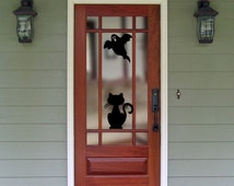 Halloween Window Clings, Halloween Decorations, Jack-o-lantern, black cat, spider web, witch, ghost, haunted house
