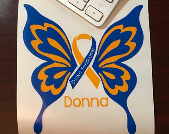 Down Syndrome Awareness Decal, Down Syndrome Car Decal, Down Syndrome Butterfly