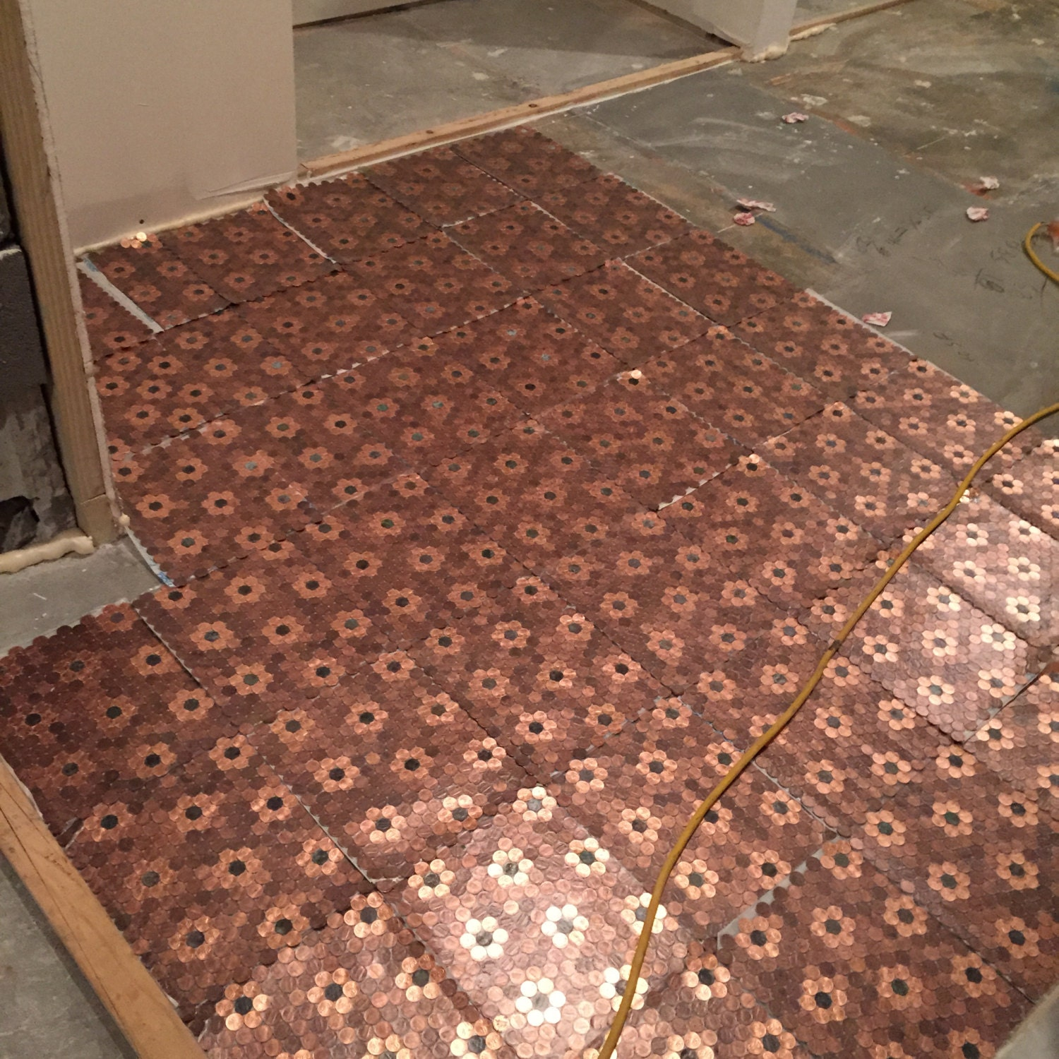 4 Floret Style Of Real Us Penny Coin Mosaic Tiles From Kvs