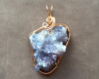Celestial Aura Tanzine Aura Quartz Crystal Cluster 14K Rose Gold Filled Wire Wrapped Pendant
