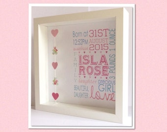 Framed Personalised Baby Girl Birth Print
