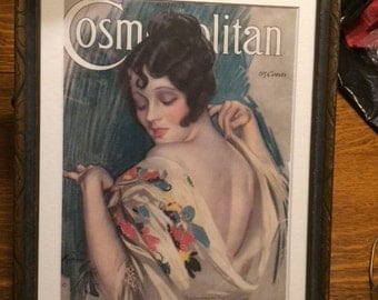 """Vintage Cosmopolitan Magazine Cover, Framed, Approx 15"""" x 11"""",  Copy, Early 1900's"""