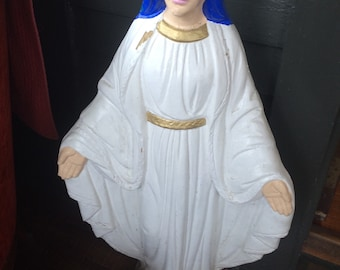 """Vintage Large Beautiful VIRGIN MARY Blessed Mother Concrete STATUE 36"""" Tall"""